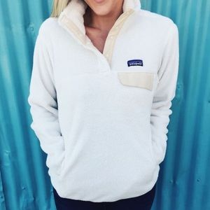 Patagonia White Re-Tool Snap-T Fleece Pullover (M)